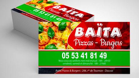 carte de visite pour une pizzeria